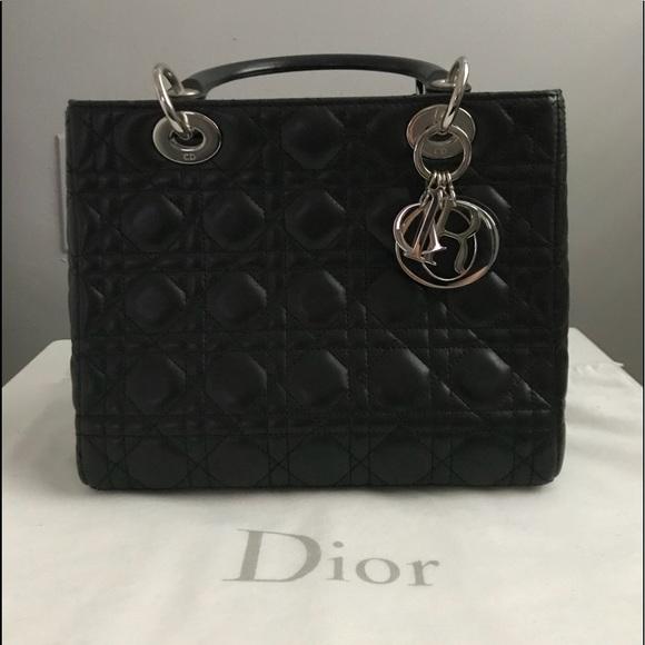 ae8a0e47ec1b Dior Handbags - Lady dior black lamb skin purse